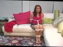 cute babysitter gets tied up and gagged with white tape