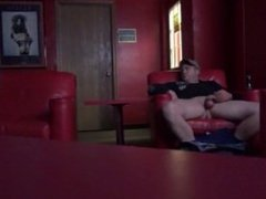 Rednecks public adult theatre wank, turns into his first bisexual blowjob