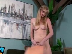 Sexy girl in glasses jerks a guy off