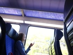 filming girls on train and cum