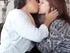 Sweet Lesbian Teens Long & Passionate Kiss