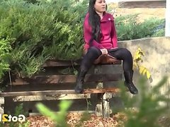 Lusty raven haired sex pot in pink coat pisse