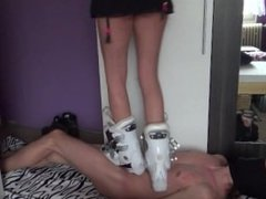 Cruel girl in ski boots hard trample stomp jumping on trample slave