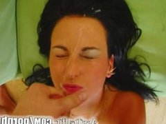 Ass Traffic Brunette is anally screwed by two guys and cumshots