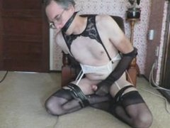 Gagged CD Stockings & Suspenders Cumshots