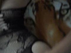 Lesbian Step-Sisters get caught, the brunette catch the cum with her mouth