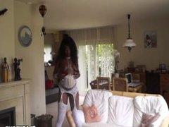 Sexy black MILF teasing on cam