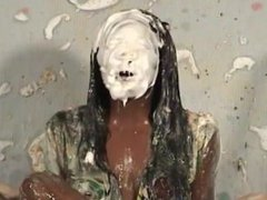 cute ebony girl pied and slimed