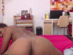 Masturbating her hairy ebony pussy on webcam