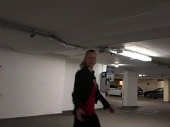 PUBLIC! BlondeHexe! Hot Blonde fucked in Parking Area!