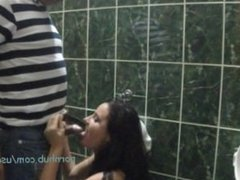 She Gives a Blowjob in a Public Toilet