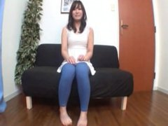 Japanese girl farting in blue jeans