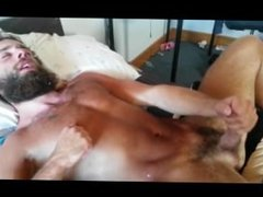 A verbal bearded hunk's loud moaning orgasm