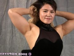 japanese girl showing how muscular she is