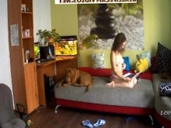 Reallifecam Maya & Stepan onthe couch in livingroom