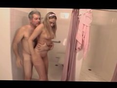 Barely Legal Kelly sucks and fucks the schools old janitor in the showers