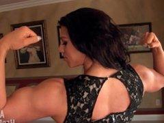british babe showing her big back in black dress