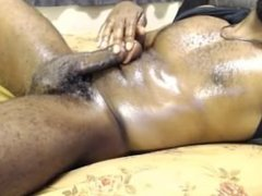 Black hairy chest dude jerking off on cam