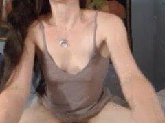 Real Amateur Hot Brunette Rides Dildo