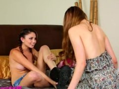 Two lesbians Ariana Marie and Samantha Hayes get intense in the bathroom