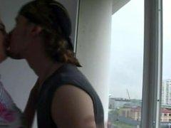 Redhead Teen having sex near window