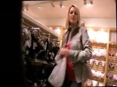 beautiful blonde fucked in public mall changing room