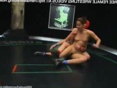 Hero Covered in Red Lesbian Wrestling Fight