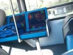 crusing guy on bus flasing his hard-on and cumming