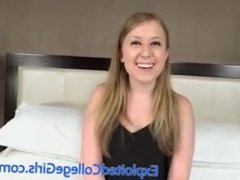 Not-so-innocent angel shows her wild side and drains this guy's balls