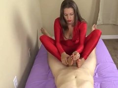 footjob and mastubation by a princess in red