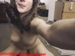 Hot babe pleasing herself on webcam, big nice soft tits