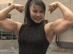 japanese girl with her super double biceps