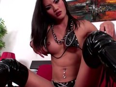 Adorable femboy in latex strokes and cums