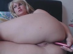 Busty blonde trains her butthole