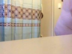 BBW WIFE  before shower hidden cam