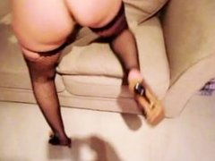 RUSSIAN BITCH GIRLFRIEND TALKS DIRTY SUCKS AND FUCKS WOODEN STICK