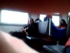 Wanker in train