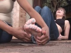 Woman's feet teased and tickled