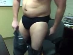 Beefy Guy Jerks Off at the Office