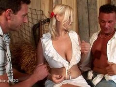 Busty Babe Fucking In Threesome At The Stable