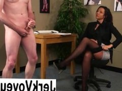 Clothed babe watch guy jerking off