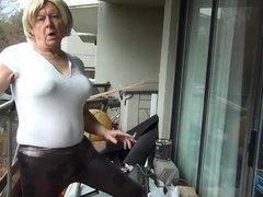 Naughty Gigi smoking and modeling tights