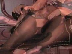 Femdom footjob and handjob for slave in black stockings