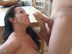 stepson Caught Step-Mom Naked in Kitchen Seduce to Fuck her