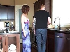 Busty housewife sucks and fuck in the kitchen