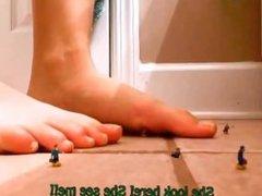 giantess girlfriend barefoot crush shrunk boyfriend - sfx unaware