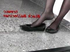 Goth Girl Dangles Black Ballet Flats