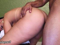 Big booty tranny fucks black cock