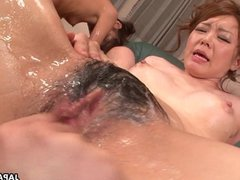 Full blown orgy with some skinny brunette Asi