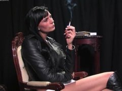 smoking in leather jacket and boots 3